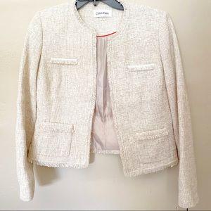 Calvin Klein Tweed Fringe Jacket in Natural